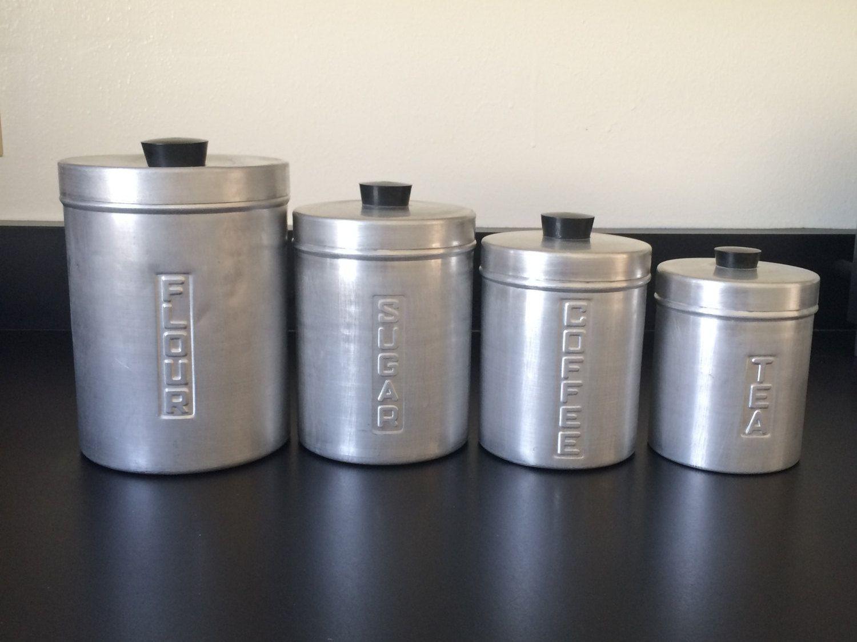 kromex vintage spun aluminum canister jar set, vintage kitchen