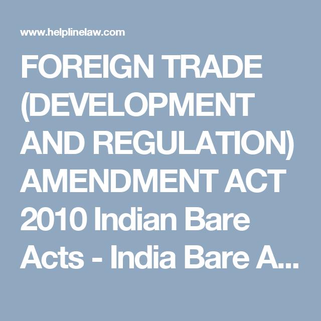 Foreign Trade Development And Regulation Amendment Act 2010