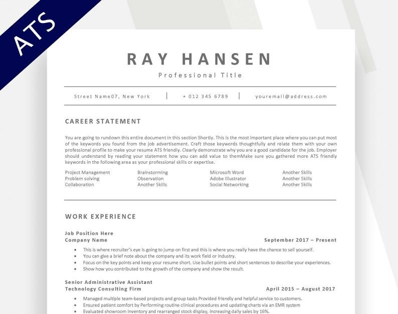 Resumes are used for a variety of reasons, but they a resume is a formal document created and used by a person to show their career backg. Ats Compatible Resume Template Applicant Tracking System Etsy Resume Template Resume Template Professional Nursing Resume Template