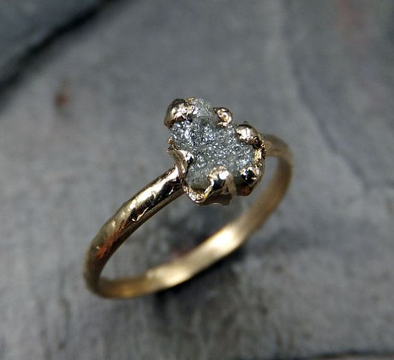 Raw Rough Uncut Diamond Engagement Ring Solitaire Recycled 14k Gold Conflict Free Wedding Promise Byangeline