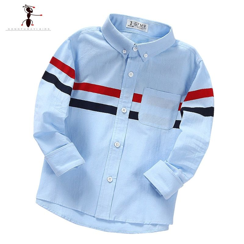 Classic Striped Full Sleeve Casual 3-8 Years Old Turn-down Collar White  Blue Boys Blouses Kids Shirts 1908   Boys shirts pattern, Kids shirts boys,  Kids outfits