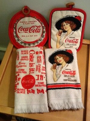 Coca Cola Dish Towels And Vintage Pot Holder