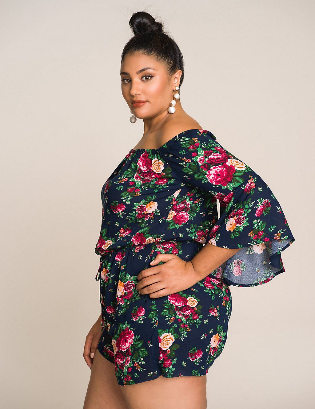 df7b990145 Plus Size Floral Off The Shoulder Romper in 2019 | jump suit ...