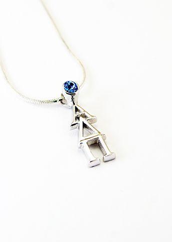 Alpha Delta Pi Sterling Silver Lavaliere with Swarovski Blue Crystal  #alphadeltapi #ΑΔΠ #sorority #sisters #jewelry #fashion #cute #sororityjewelry #greeklife