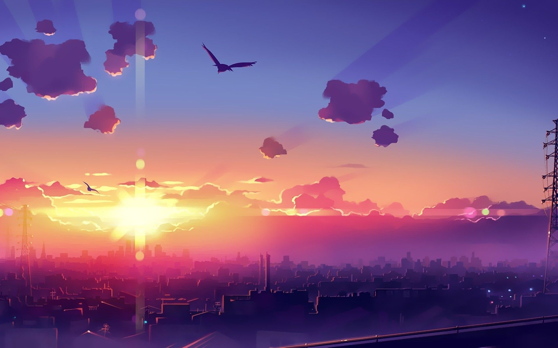 artwork, Fantasy Art, Anime, City, Sunset, Sky Wallpaper