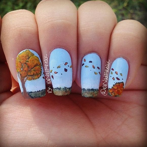 60 Fall Inspired Nail Designs: Leaves, Owls, Pumpkins