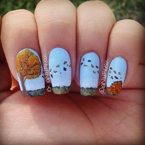 60 Fall Inspired Nail Designs Leaves Owls Pumpkins More Nails We Like