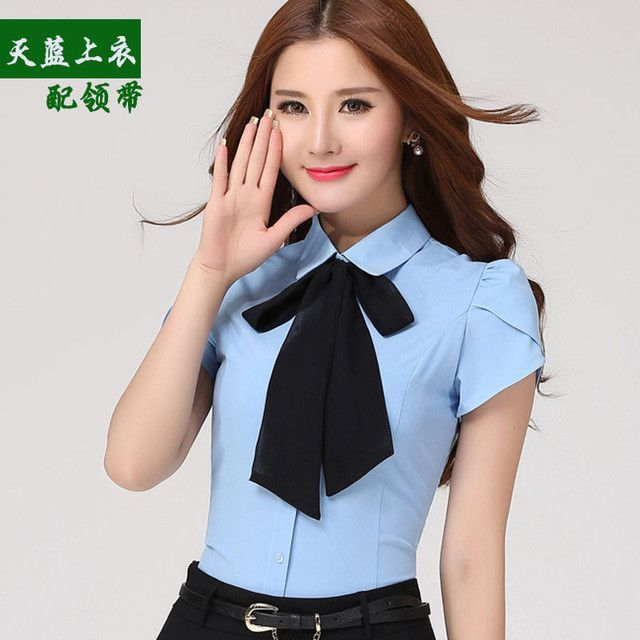 Female plus size XS-4XL sent bow tie shirt tooling formal slim short-sleeve fashion blouse women's summer work wear white tops