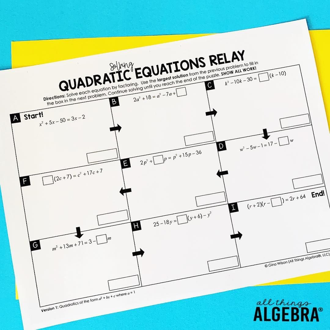 Representing Quadratic Equations Worksheet Answers Gina