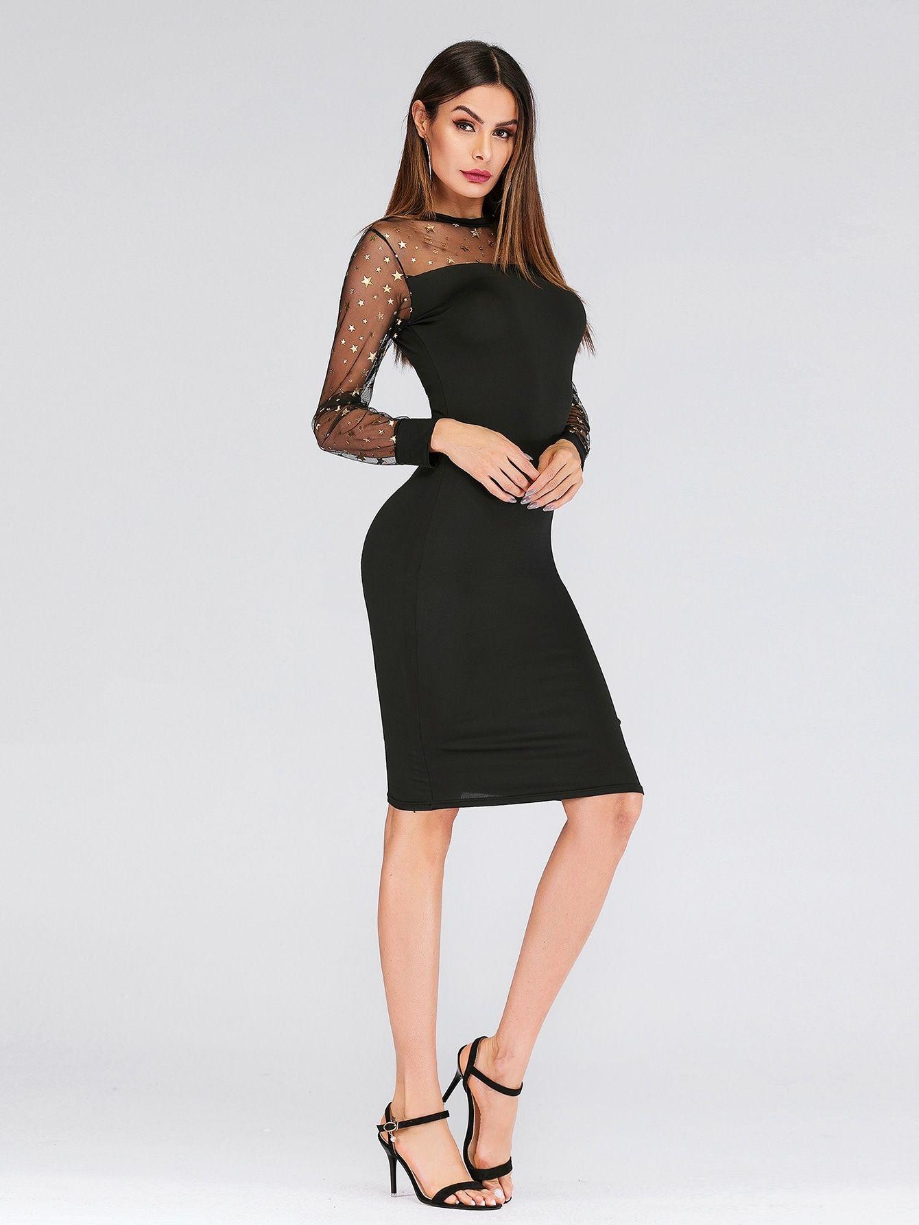 cd0b65eff2a7 Party Pencil Contrast Mesh Geometric Bodycon Round Neck Long Sleeve Natural  Black Knee Length Contrast Mesh Star Print Dress