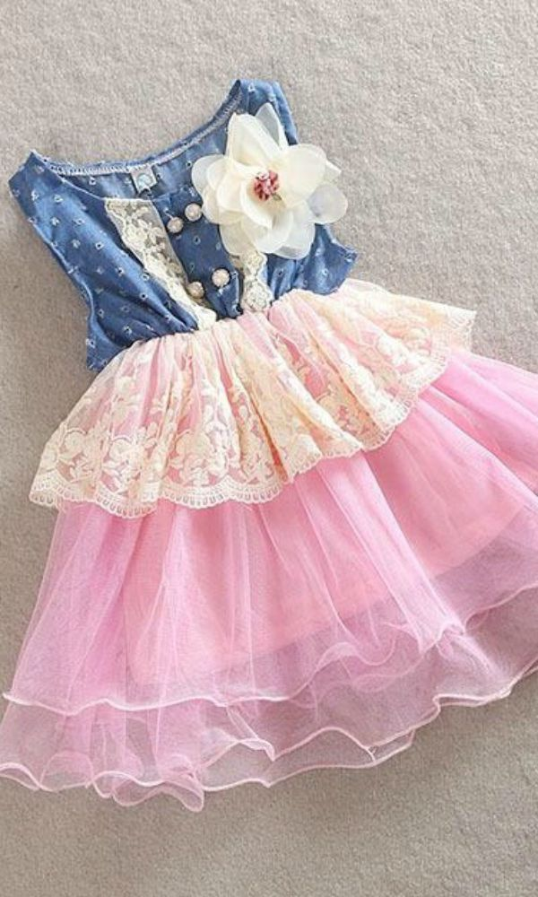 a8c14a9a8633 This little girl and toddler denim in pink ruffle dress is perfect for  those…