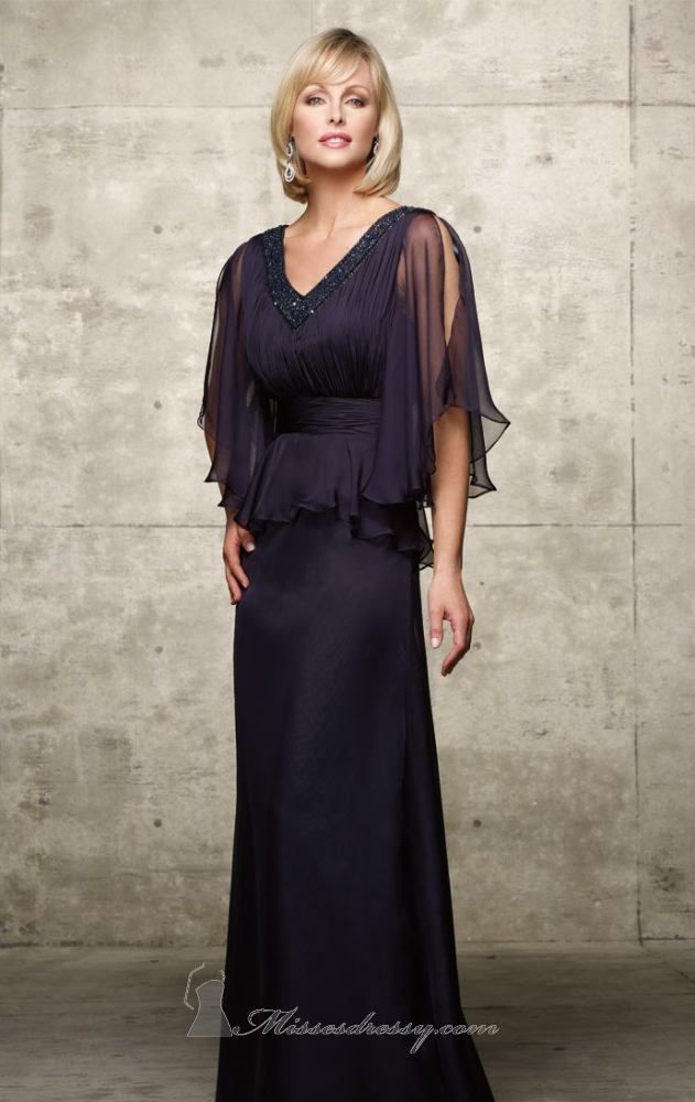 Easy to wear yet utterly stylish, this Alyce Jean De Lys 29422 flowing chiffon gown is both charming and comfortable. The sheer open sleeves complement the ruched smooth bodice very well. This floor length gown is also stunningly capped off by a bead embellished V-neckline and a V-shaped back. The ruched natural waistline beautifully cinches the bodice. The flowing poly chiffon A-line skirt is wonderfully crafted. It falls to the floor gracefully, and moves when you do. Delicate and soft…