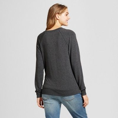 Women's Skeleton Graphic Sweatshirt - Zoe+Liv (Juniors') Charcoal Xxl, Gray