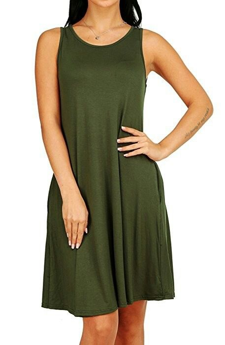 81214736e31 Amazon GABREBI Women s Sleeveless Pockets Casual T-Shirt Dress Loose Tank  Top Swing Summer Plus Size Dresses GABREBI
