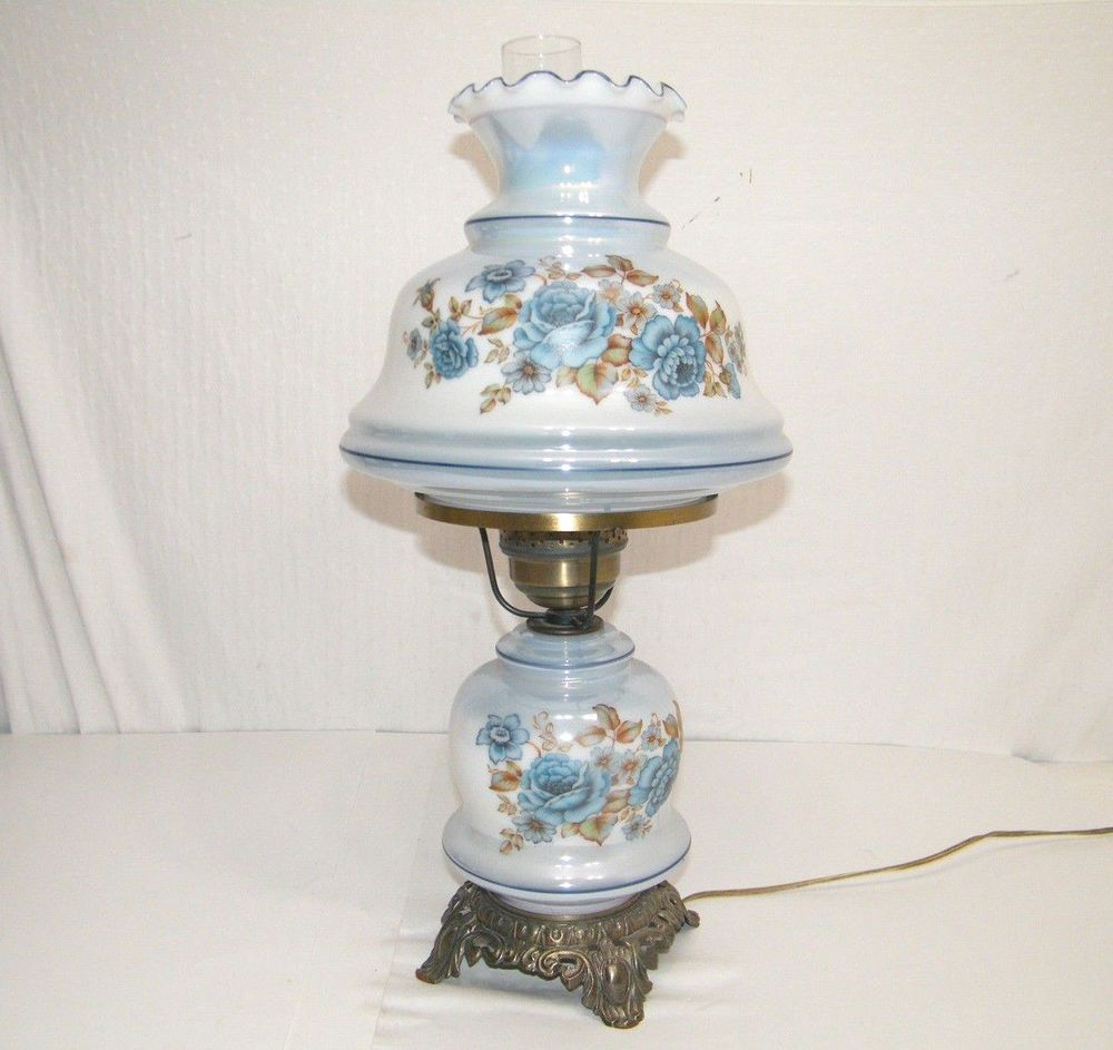 Vintage 1960's Glass Gone With The Wind Hand Painted Blue Flower Hurricane  Lamp