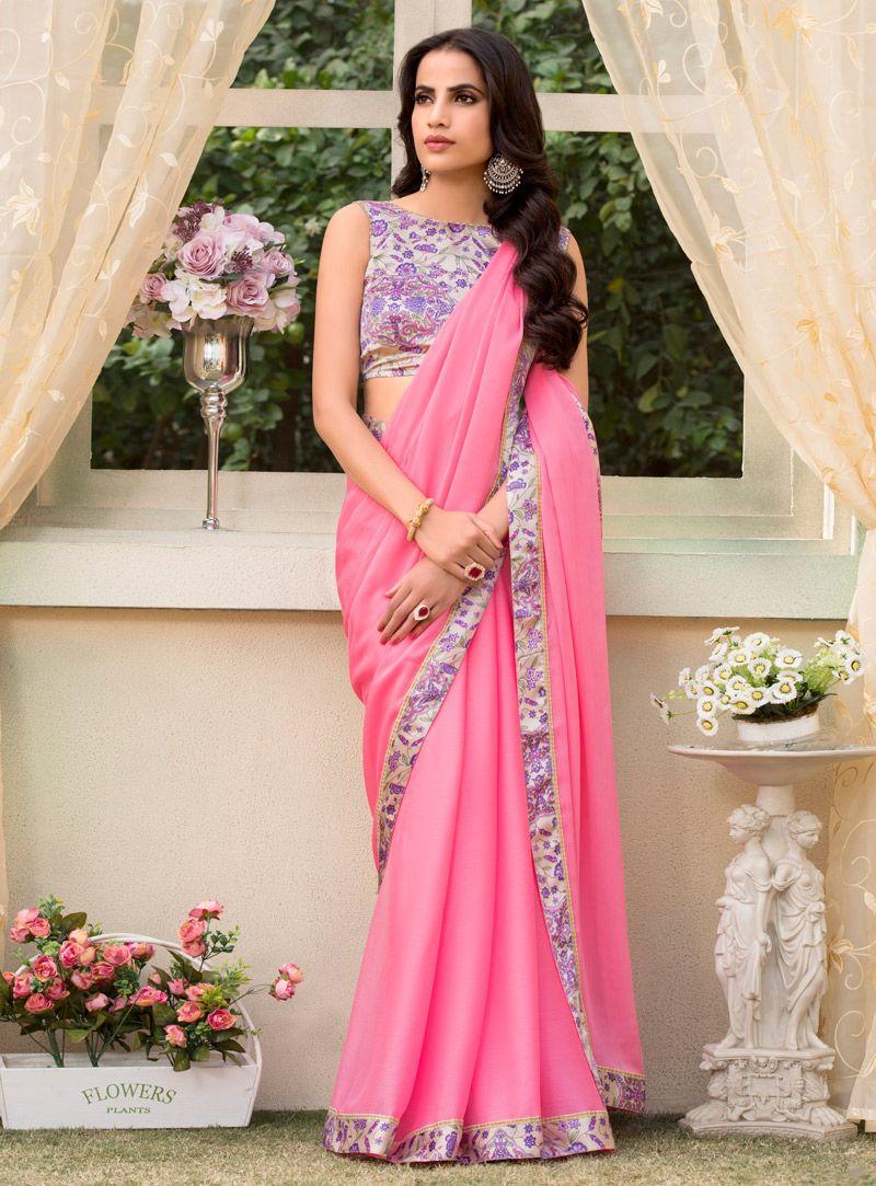 221910d038a26e Pink Chiffon Patch Lace Work Saree 115153