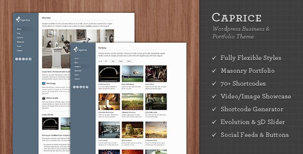 WordPress Theme – Caprice Business & Portfolio Theme. View demo and purchase at mojo-themes.com
