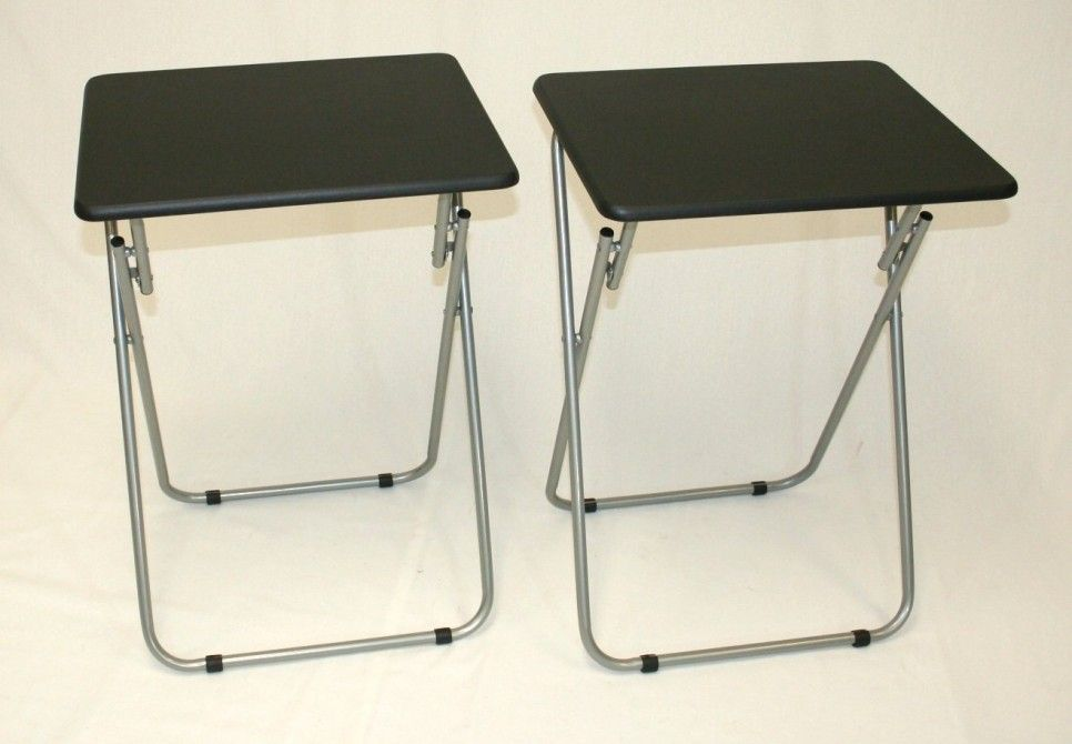 Furniture Black Leathertv Tray Table With Stainless Steel Folding Stand Ideas Tv