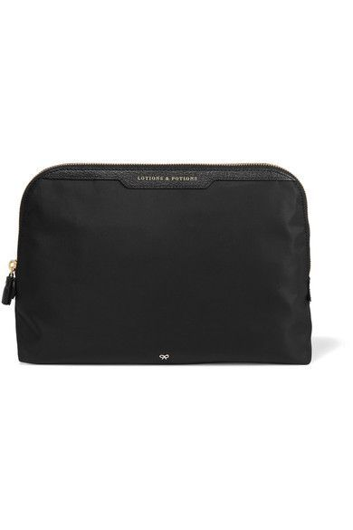 Textured Leather-trimmed Shell Jewelry Case - Black Anya Hindmarch S49VPMNoWI