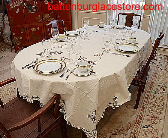 Nice Battenburg Lace Tablecloth In ECRU Color. We Displayed A Rectangular Corner  On An OVAL It