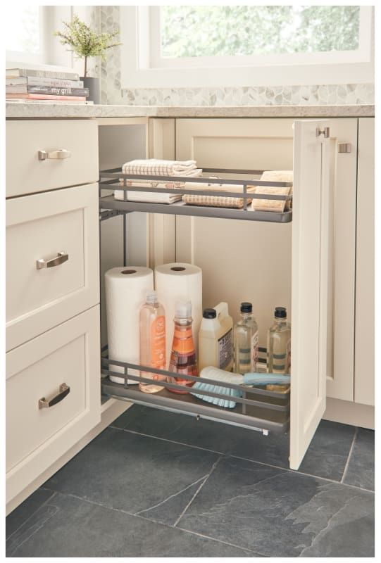 Rev A Shelf 5322 Bcsc 9 Fog 5322 Series 12 Inch Two Tier Pull Out Base Organizer Orion Gray Storage And Organization Cabinet And Kitchen Organizers Base Cabinets Rev A Shelf Cabinet