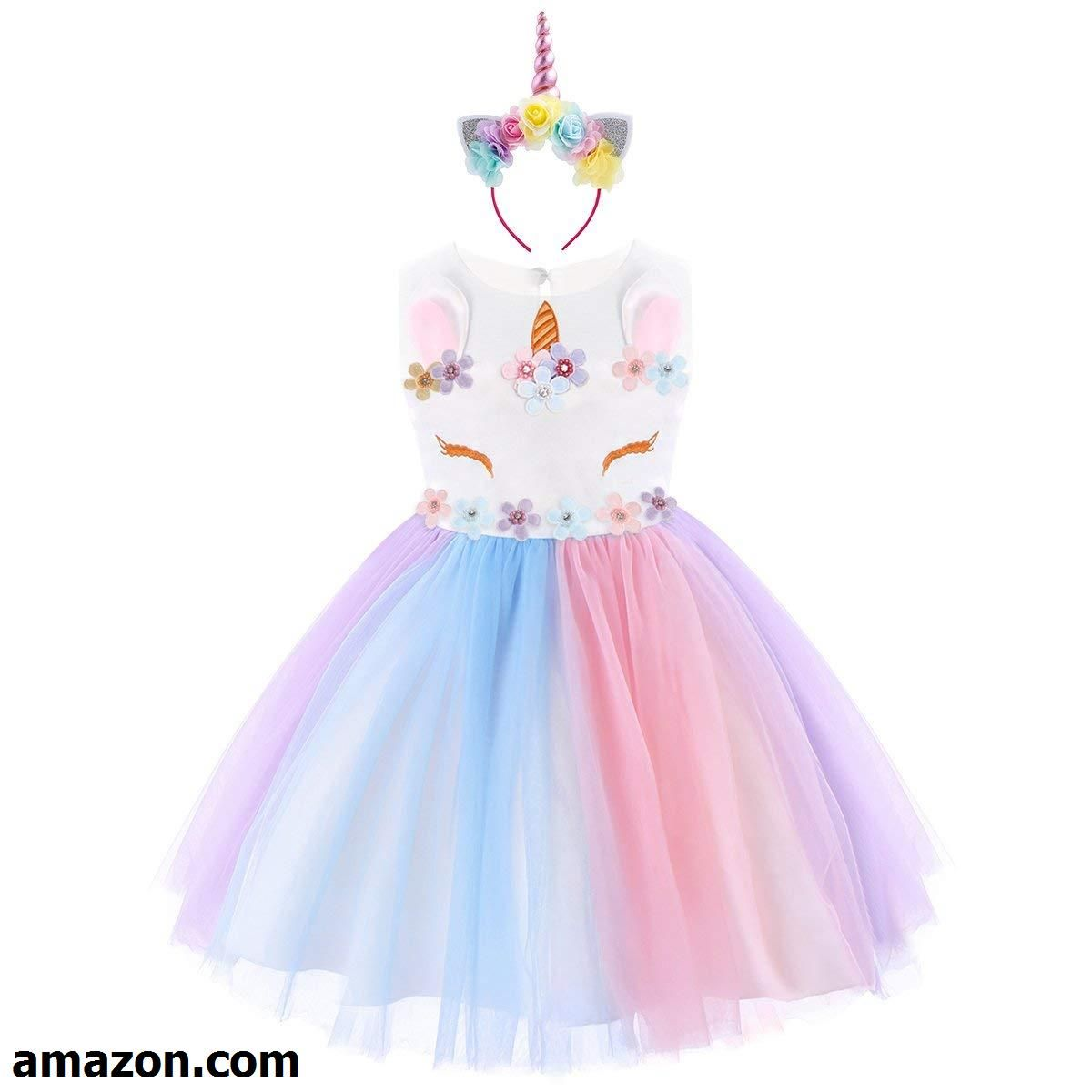 Girls Princess Unicorn Costume Tulle Tutu Dress Summer Sleeveless Costume Birthd