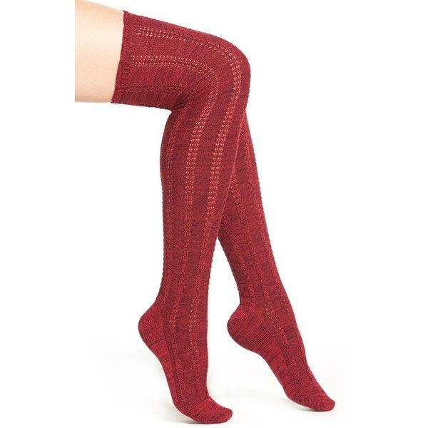 Women's Free People 'Fray' Openwork Knit Over The Knee Socks (210 SVC) ❤ liked on Polyvore featuring intimates, hosiery, socks, red, above the knee socks, knit socks, overknee socks, red socks and over knee socks