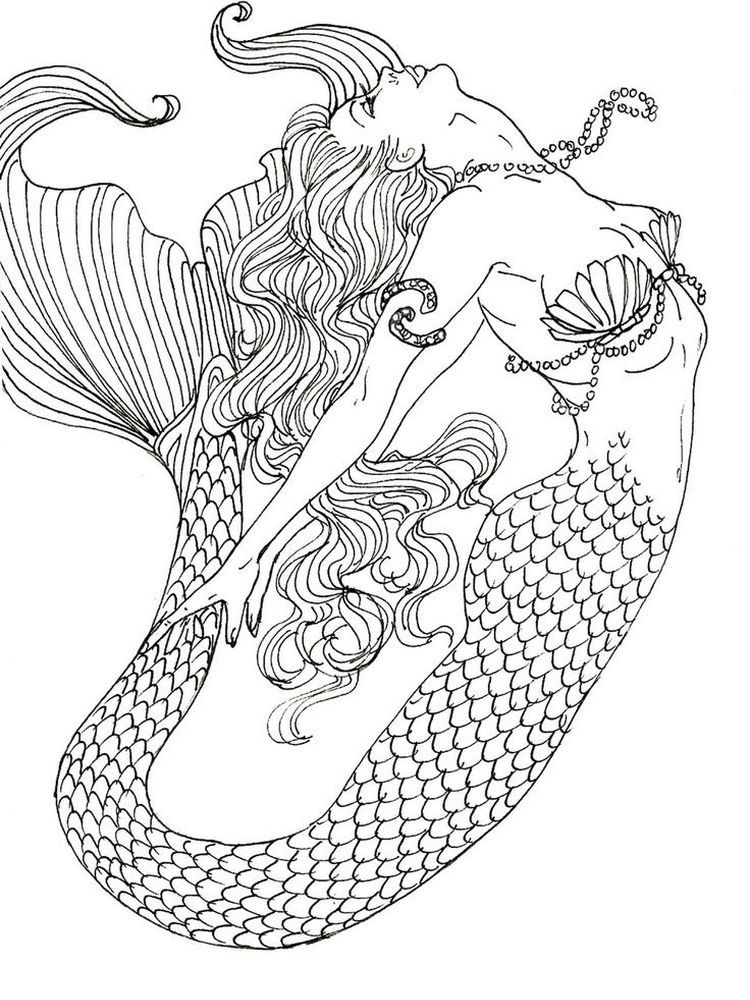 Mermaid Coloring Pages Anime Mermaids Are Aquatic Creatures That Have A Woman S Body From The Mermaid Coloring Book Detailed Coloring Pages Realistic Mermaid