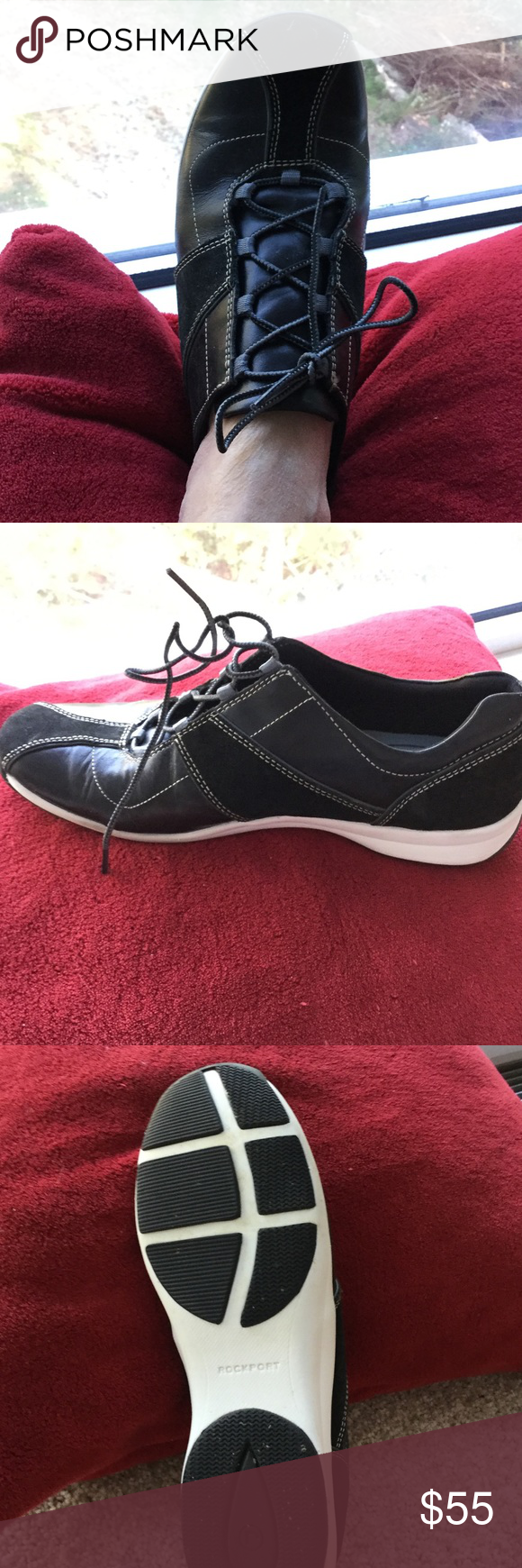 New Rockport casual shoe, 7.5 Nwot black leather and suede athletic shoe, never worn. Spotless interior and bottom of shoes. Couple tiny scuffs from mingling with other shoes. Pretty near perfect! 7.5 white stitching, rubber bottoms Rockport Shoes Athletic Shoes