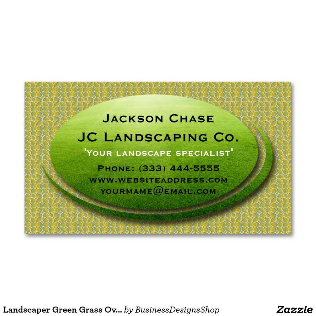 Landscaper Green Grass Oval Business Card | Business cards, Grasses ...