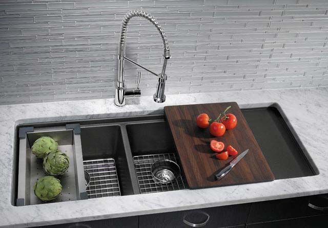Blanco SILGRANIT Precis Series multilevel double bowl sink with