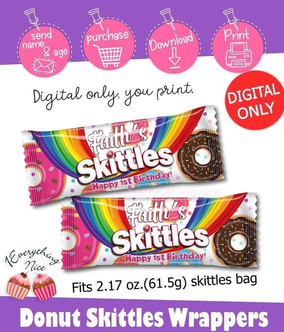 DIGITAL DOWNLOAD Donut Grow Up Donuts Skittles Wrappers