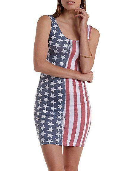 5237173e265 American Flag Print Bodycon Dress: Charlotte Russe #americana #bodycon Next  Dresses, Jersey