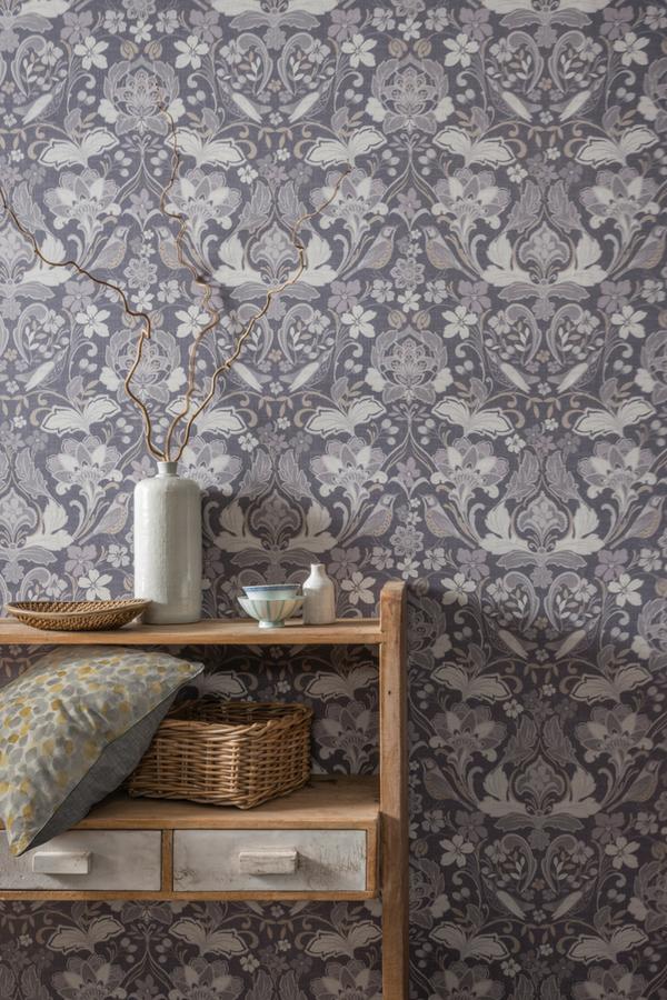Folk Floral By Arthouse Grey Wallpaper 676003