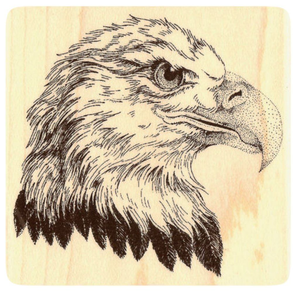 """{Single Count} Unique & Custom (2 3/4"""" Inches) """"American Bald Eagle"""" Square Shaped Genuine Wood Mounted Rubber Inking Stamp"""