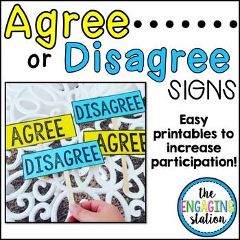 Use These Rectangular Agree And Disagree Signs To Create A Double