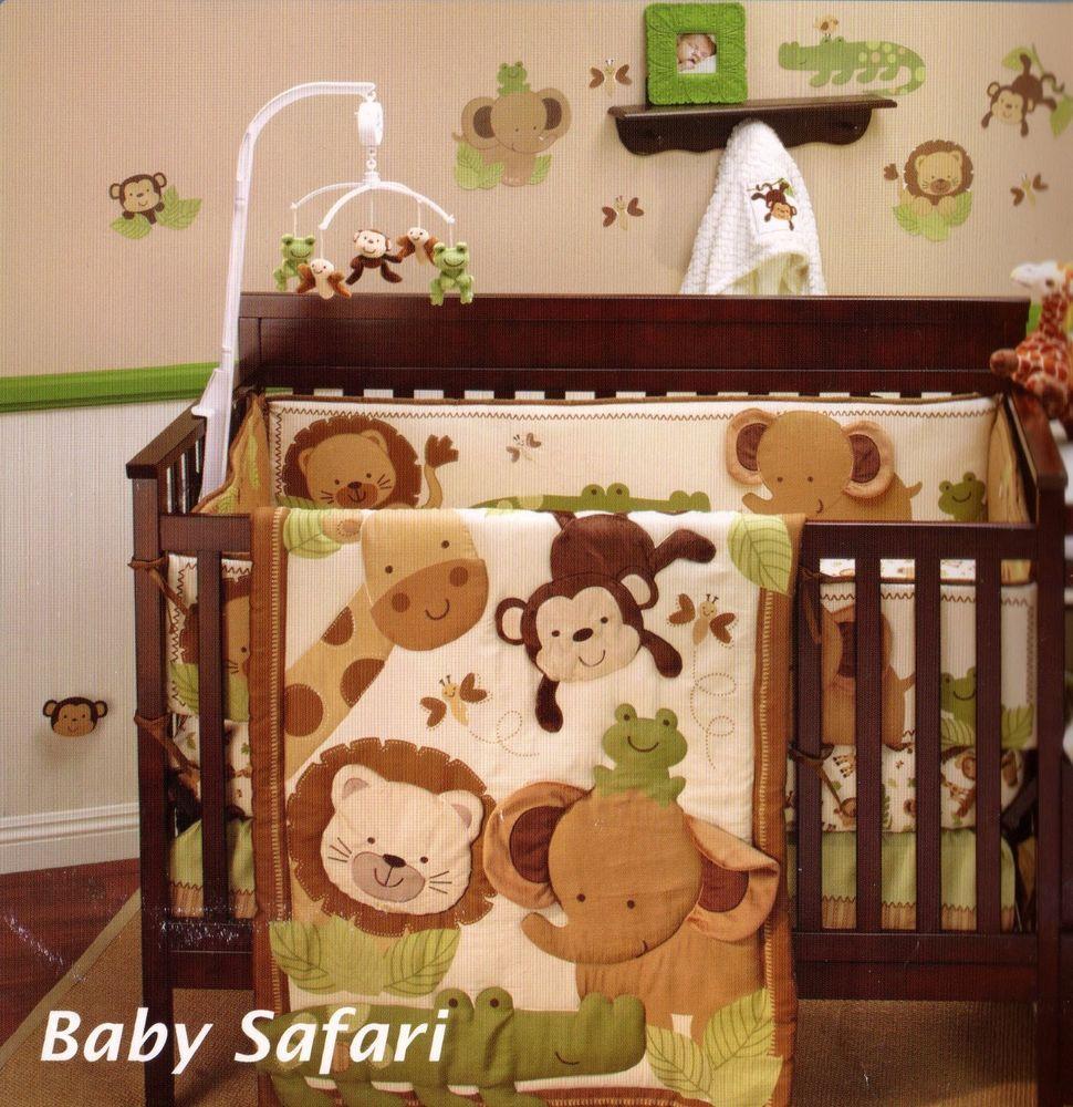 Baby Safari 8 Piece Crib Bedding Set / Bumper Monkey , Elephant ...