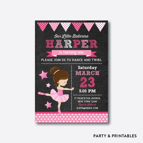 ballet chalkboard kids birthday invitation ckb415