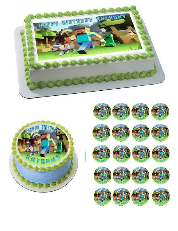 MINECRAFT Characters 2 Edible Birthday Cake OR Cupcake Topper