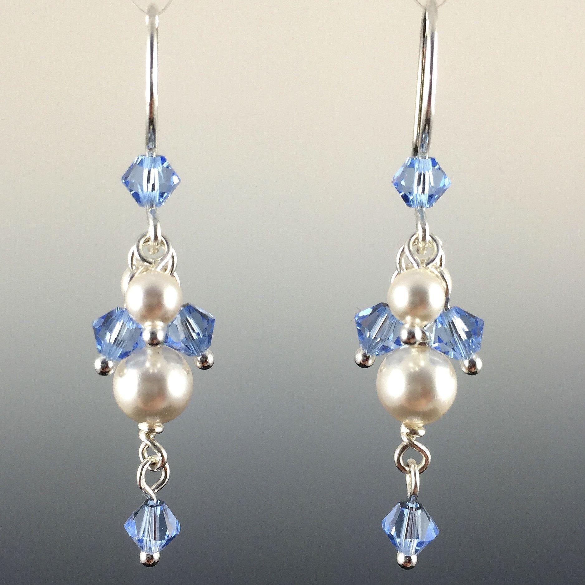 925 silver earwires Artisan  Earrings Lavender Pearl /& Luminous Opal Crystal