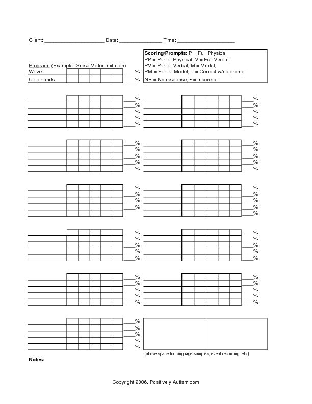 Data Collection Sheet: Gross Motor Imitation Worksheet | Lesson Planet