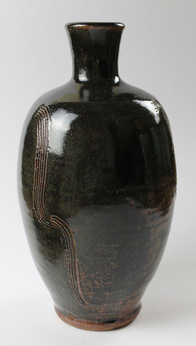 Bottle Vase, Combed Pattern with Tenmoku Glaze by Jim Malone