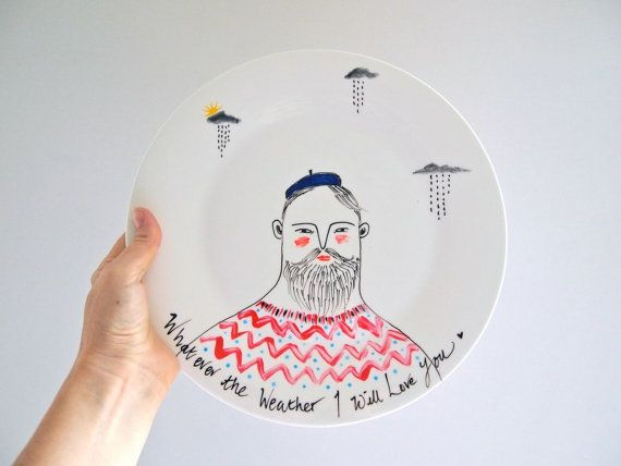 Hand painted decorative plate Whatever the weather I will love you by Jess Quinn & Hand painted decorative plate Whatever the weather I will love you
