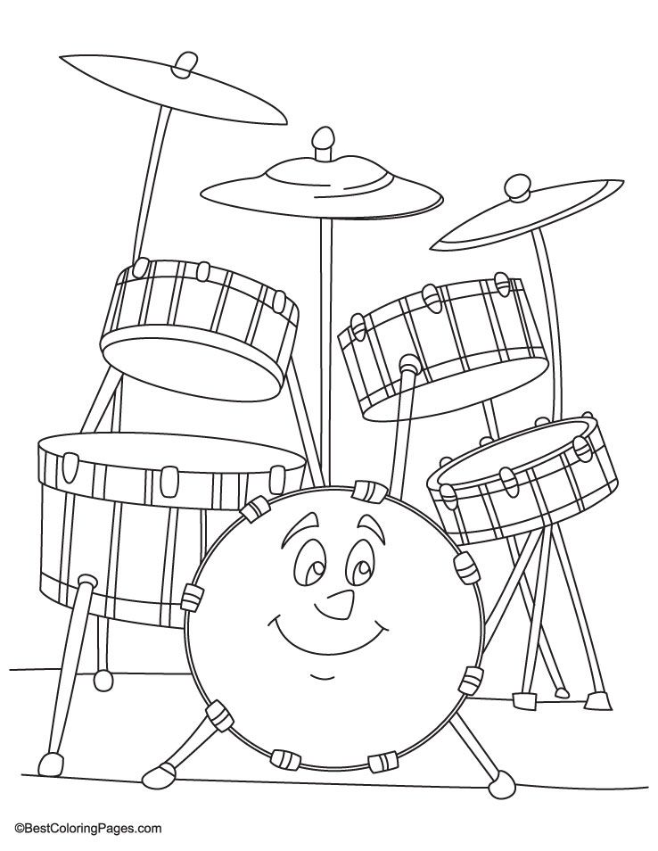 Drum set coloring pageADULT COLORING BOOK PAGESMore