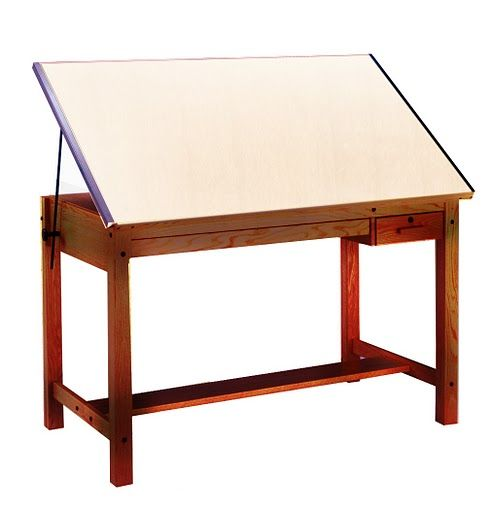 mayline lighted drafting table | wood four-post drafting table