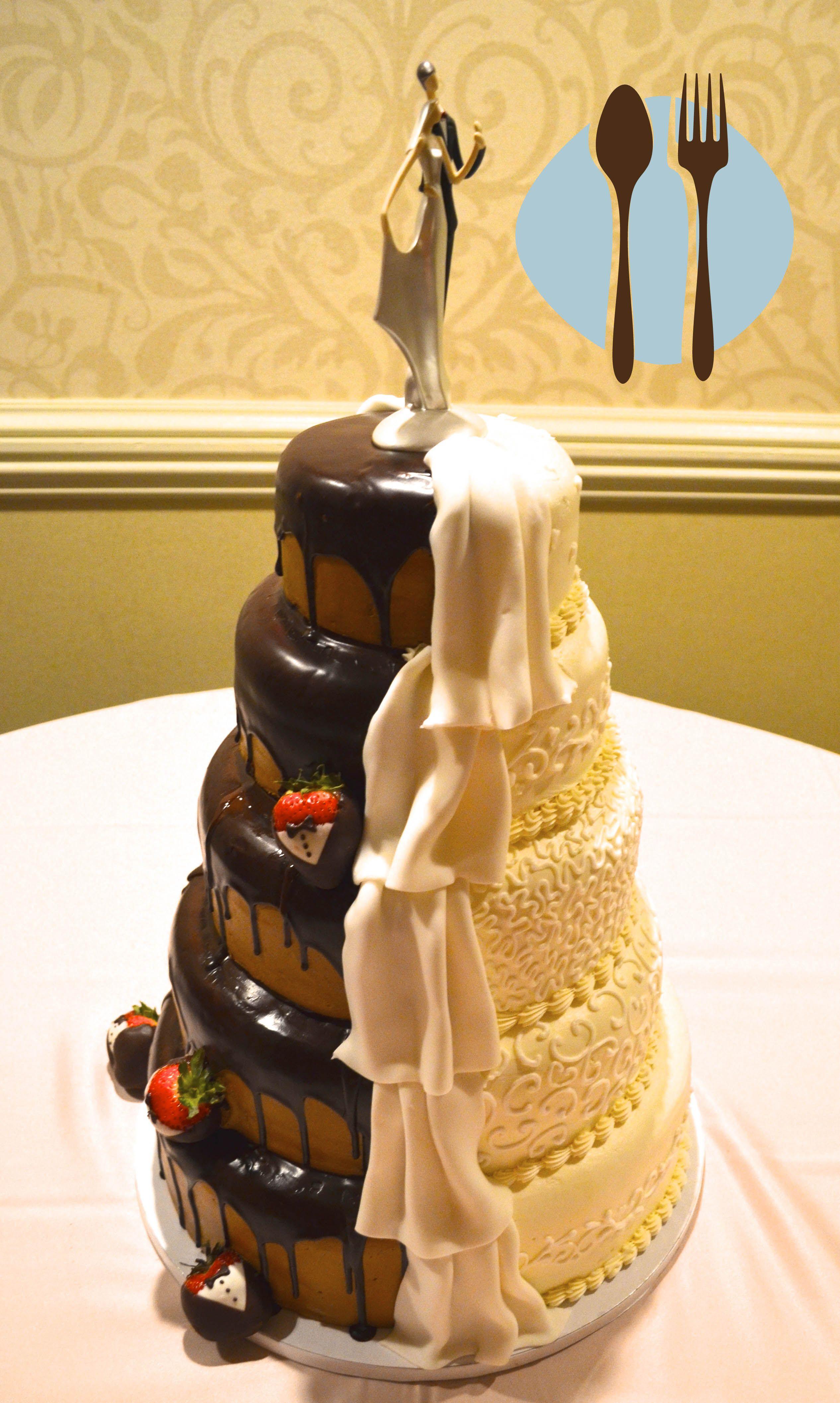 Half chocolate, half vanilla wedding cake. His and hers. | Wedding ...