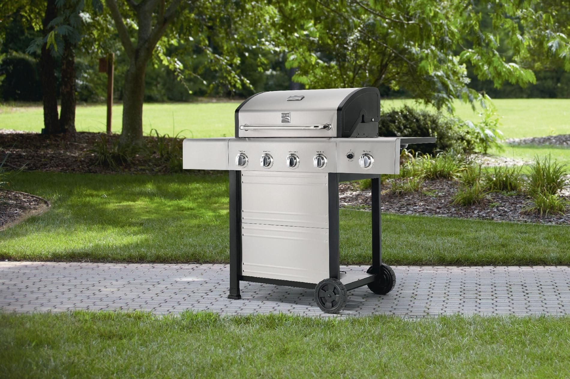 Unterstand Für Gasgrill : Kenmore 4 burner gas grill with stainless steel lid outdoor living