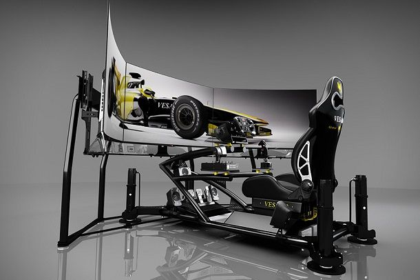 If you've ever dreamed of speeding down the track to victory, now's your chance (almost). The Vesaro I Evolve Extreme Special Edition is now the most impressive commercial grade racing simulator on the market. The high-tech gadget fully immerses you in the experience of sitting in the driver's seat with the world's first 55-inch Triple Curved OLED display setup (with 165 inches of screen), a Level 4 Extreme PC with two Radeon HD7990 6GB graphics cards, a Logitech Z906 THX 5.1 surround sound…