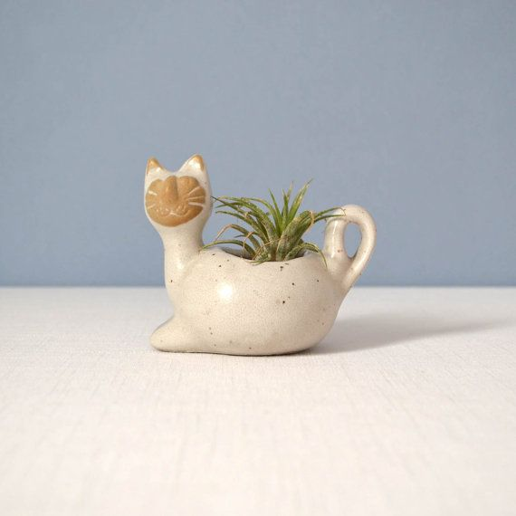 David Stewart Lion's Valley Small Cat Planter by MidModMomStore