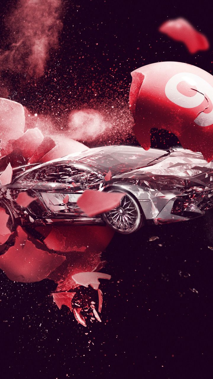 Lamborghini Car Explosion Ball Smash 720x1280 Wallpaper